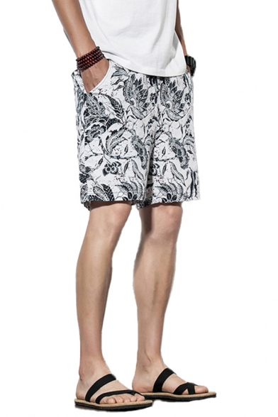 Holiday Shorts Absatrct Leaf Pattern Pocket Drawstring Mid Rise Fitted Shorts for Men