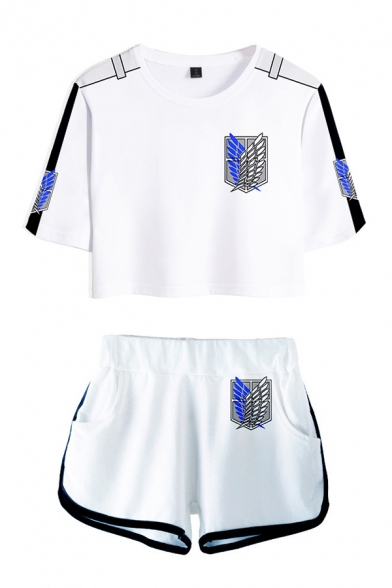 Popular Girls Patterned Contrasted Short Sleeve Crew Neck Relaxed Crop Tee & Shorts Set