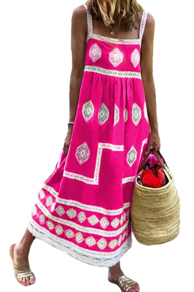 Popular Womens Tribal Printed Backless Square Neck Straps Sleeveless Maxi Swing Slip Dress