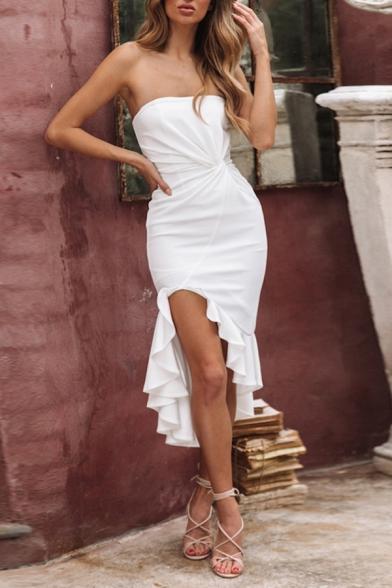 Sexy Womens Solid Color Twist Waist Ruffle Hem Zipper Back Backless Strapless Sleeveless Fitted Midi Tube Asymmetrical Dress