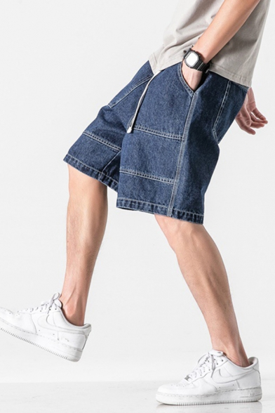 Stylish Mens Jean Shorts Light Sleeve Buckle Pocket Elastic Mid Rise Relaxed Fitted Jean Shorts