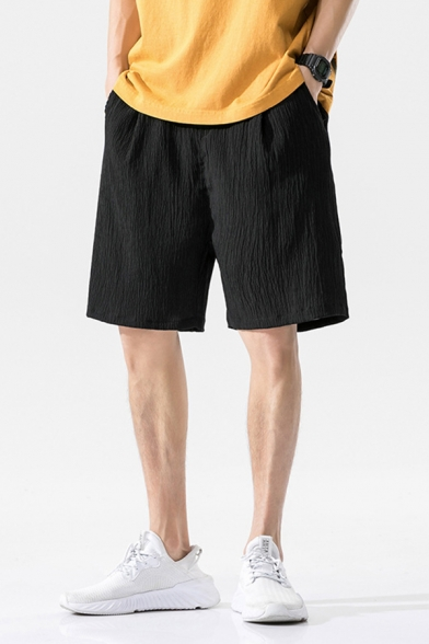 Trendy Mens Shorts Solid Color Pleated Pocket Drawstring Mid Rise Loose Fitted Shorts
