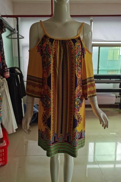 Womens Fashion Beach Off the Shoulder Half Sleeve Tribal Print Shift Cami Midi Dress