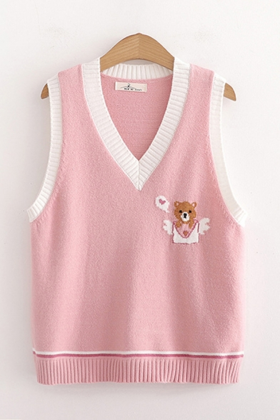 Adorable Girls Bear Embroidered Contrasted Sleeveless V-neck Relaxed Fit Knit Vest LC683582 фото