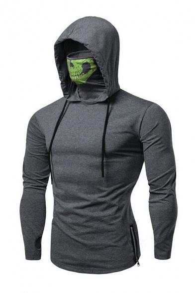Leisure Mens Skull Printed Long Sleeve Drawstring Zipper Sides Slim Fit Hoodie