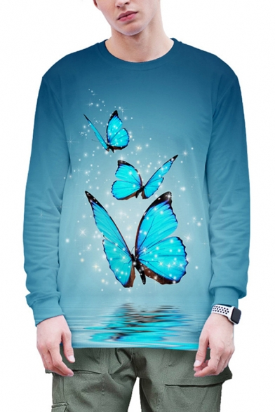 Mens 3D Pullover Sweatshirt Unique Butterfly Leaf Sparkle Pattern Round Neck Cuffed Long Sleeve Slim Fitted Pullover Sweatshirt