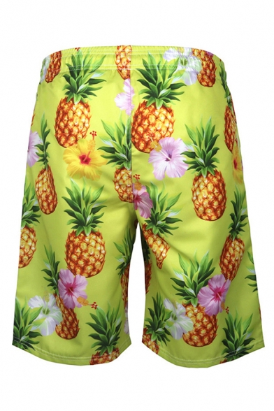 Mens Fashionable Shorts Floral Pineapple 3D Print Drawstring Straight Fitted Knee Length Relaxed Shorts with Pockets
