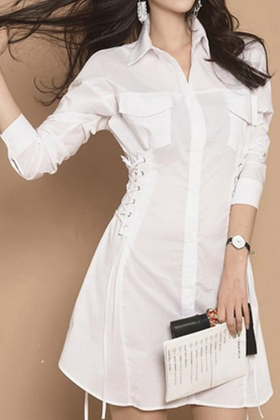 omen Trendy Solid Color White Long Sleeve Lace-Up Side Gathered Waist Mini White Shirt Dress