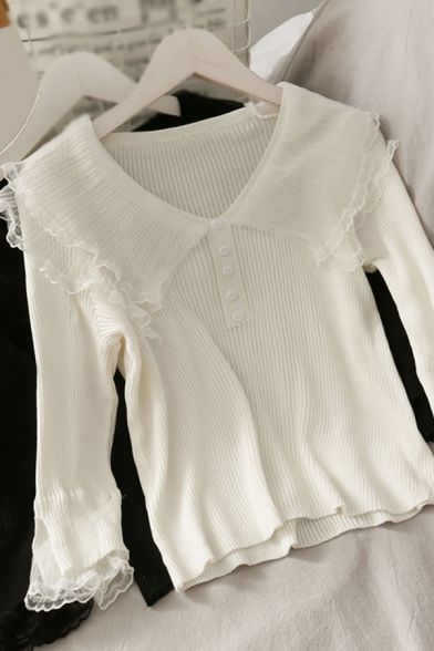 Popular Womens Solid Color Button Patched Mesh Ruffle Trim Double Peter Pan Collar Long Sleeve Slim Fit Crop Shirt