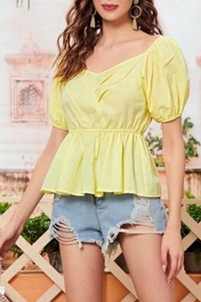 Popular Womens Solid Color Open Back V Neck Short Puff Sleeve Fitted Peplum Blouse Top in Yellow