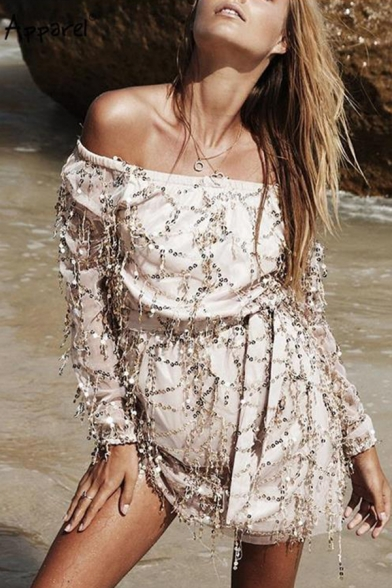 Summer Off Shoulder Long Sleeve Gold Sequined Plain Mini Wrap Dress for Women
