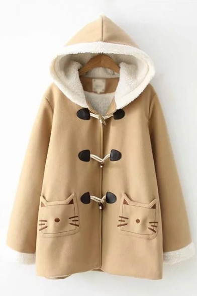 Winter's New Arrival Cute Cartoon Bear Claw Embroidered Toggle Button Front Tunic Coat