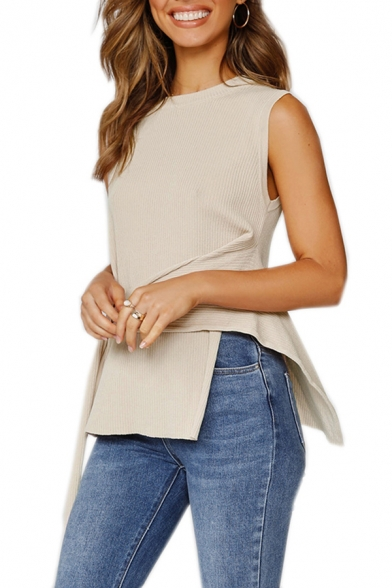 Casual Womens Solid Color Belted Asymmetric Hem Crew Neck Sleeveless Knitted Fitted Tank Top