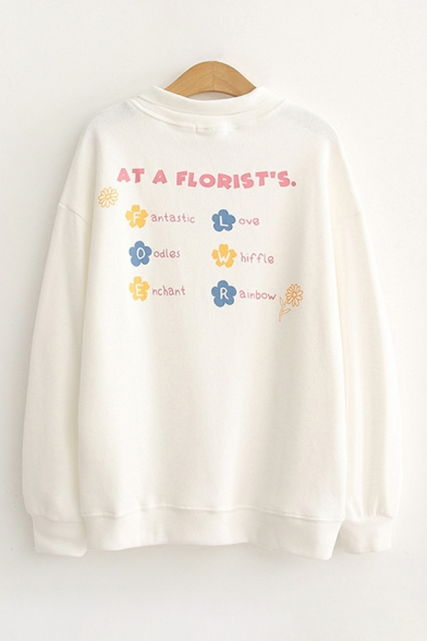 Chic Letter At A Florist's Floral Graphic Long Sleeve Spread Collar Loose Pullover Sweatshirt for Girls