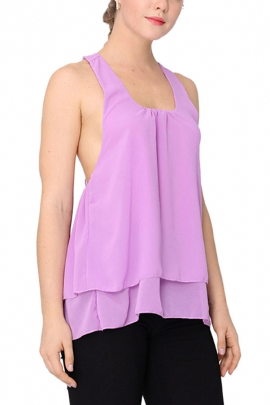 Chic Womens Solid Color Layered Ruffle Keyhole Back Backless Square Neck Sleeveless Chiffon Loose Fit Blouse Top