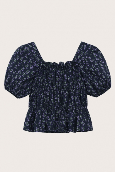 Cute Ditsy Flower Printed Puff Sleeve Square Neck Ruched Ruffled Hem Regular Fit Cropped Blouse Top