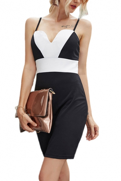 Elegant Womens Contrasted Spaghetti Straps Short Sheath Slip Dress in Black