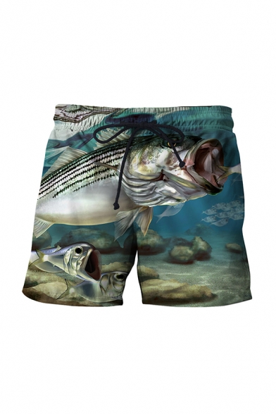 Leisure 3D Mens Relax Shorts Animal Fish Boat Stone Pattern Drawstring Regular Fitted Mid Rise Above the Knee Length Relax Shorts