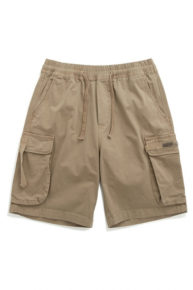 Mens Cargo Shorts Creative Solid Color Flap Pockets Knee-Length Drawstring Waist Regular Fitted Cargo Shorts