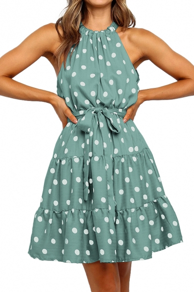Popular Womens Polka Dot Print Pleated Tiered Bow Tie Cut Out Back Sleeveless Halter Mini A-Line Dress