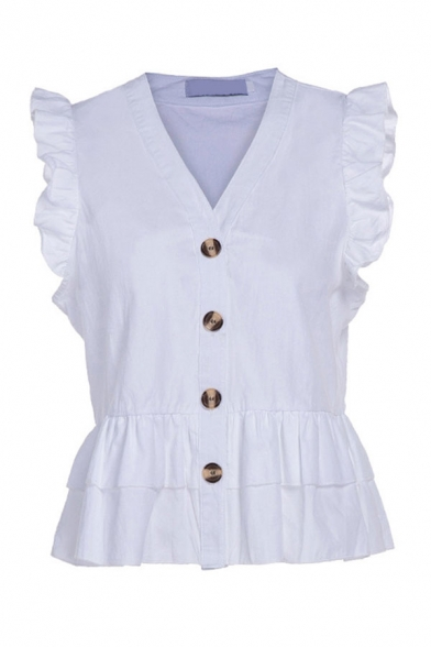 Pretty Ladies Solid Color Ruffled Sleeveless V-neck Button up Regular Fit Shirt Top