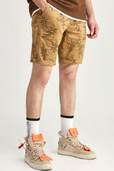Retro Mens Relax Shorts All-over Leaf Pattern Knee-Length Zipper Fly Regular Fitted Relax Shorts