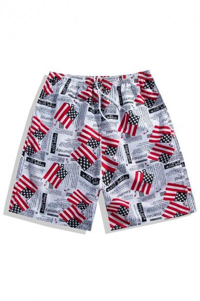 Stylish America Flag Letter Printed Drawstring Waist White Summer Beach Swim Trunks