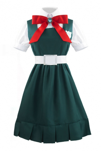 Unique Bow Tied Short Mid Pleated Dress Belted Long Socks Green Set for Girls