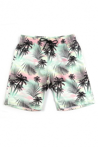 Casual 3D Relax Shorts Plant Palm Tree Leaf Cross Stripe Anchor Pattern Drawstring Pocket Straight Fit Mid Rise Mid Thigh Relax Shorts for Men