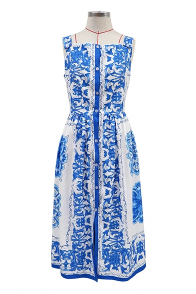 Fancy Womens Tribal Printed Backless Gathered Waist Single Breasted Square Neck Sleeveless Midi Fit&Flare Cami Dress in Blue