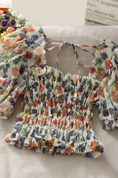 Glamorous Floral Print Ruffle Trim Tie Back Pleated Square Neck Short Puff Sleeve Slim Fitted Crop Blouse for Womens