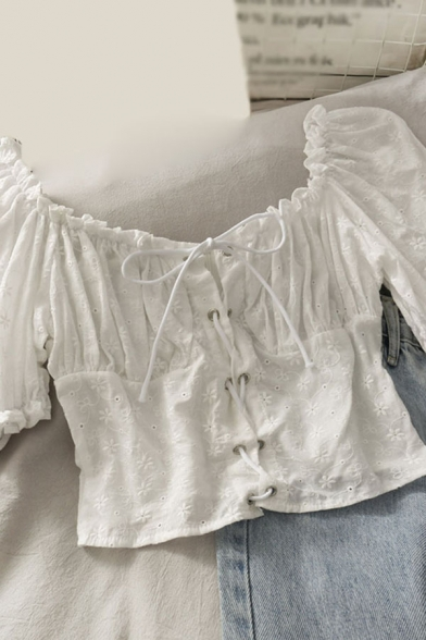 Hot Summer Womens Solid Color Lace Up Tie Crochet Cut Out Ruffle Trim Off the Shoulder Short Puff Sleeve Slim Fit Crop Blouse in White
