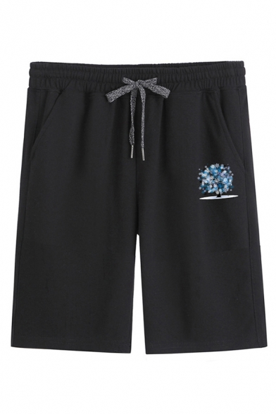 Mens Fancy Shorts Tree Water Print Drawstring Knee-length Straight Fit Sweat Shorts with Pockets