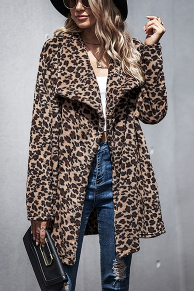 Pop Womens Leopard Print Open Front Pocket Exaggerate Collar Long Sleeve Oversized Tunic Plush Faux Fur Coat in Brown