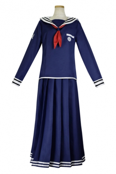Preppy Girls Stripe Printed Long Sleeve Sailor Collar Tied Regular Tee Top & Long A-line Pleated Skirt Co-ords in Navy