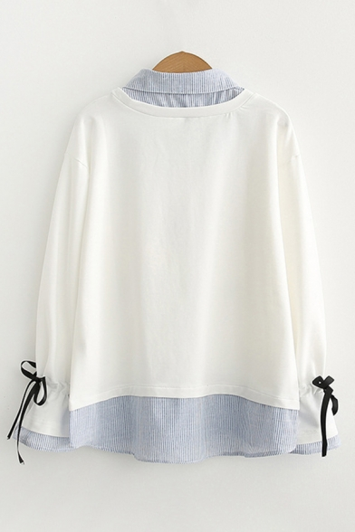 Preppy Looks Japanese Letter Rocket Graphic Bow Tied Long Sleeve Point Collar Striped Patchwork Loose Pullover Sweatshirt