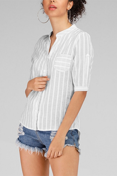 Simple Womens Striped Printed Button up Chest Pocket Notched Collar Roll up Sleeve Regular Fit Shirt