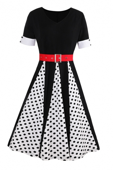 Trendy Ladies Patchwork Polka Dot Print Buckle Belted Rolled Edge Button Detail Short Sleeve V Neck Midi Swing Dress in Black