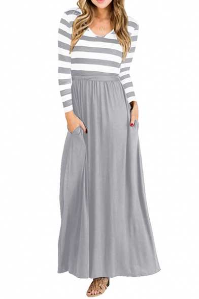Casual Girls Striped Patchwork Long Sleeve V-neck Long Pleated A-line T-shirt Dress LM660467 фото
