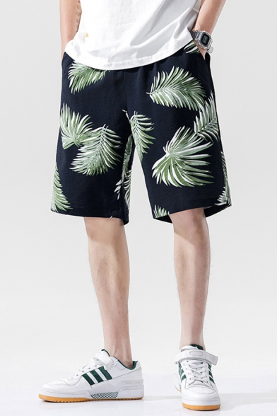 Causal Mens Shorts Blue All over Leaf Printed Pocket Drawstring Mid Rise Loose Fitted Shorts