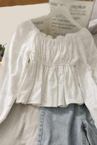 Dainty Girls Solid Color Floral Embroidered Tie Ruffle Trim Pleated Off the Shoulder Long Sleeve Slim Fit Smock Shirt in White