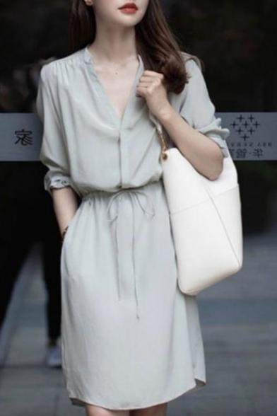 New Stylish Plain V-Neck Long Sleeve Drawstring Waist Dress