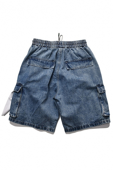 Popular Jean Shorts Letter Printed Applique Flap Pocket Drawstring Mid Rise Loose Fitted Jean Shorts
