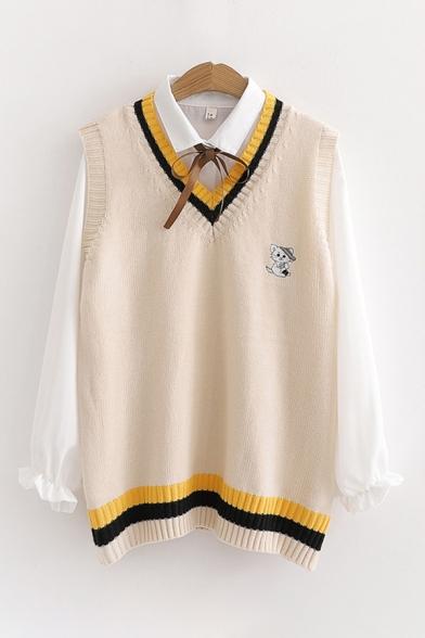 Popular Womens Cat Embroidery V-neck Striped Knit Vest with Bow Tied Shirt