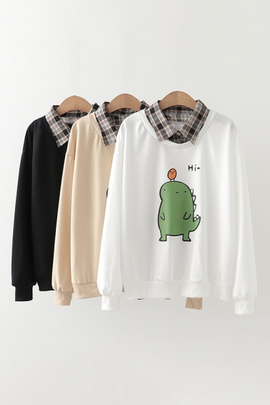 Preppy Style Dinosaur Letter Hi Graphic Plaid Print Long Sleeve Point Collar Fake Two Piece Loose Fit Pullover Sweatshirt