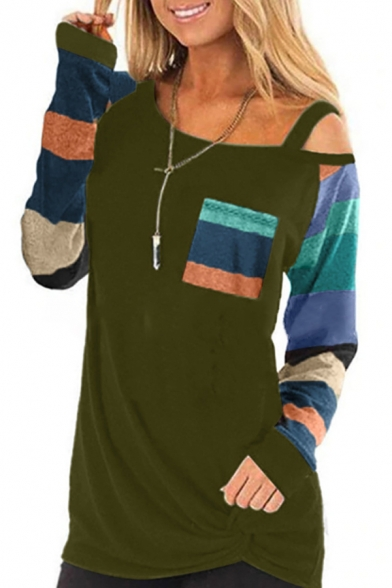 Trendy Ladies' Long Sleeve Oblique Shoulder Stripe Printed Colorblock Twisted Relaxed Tee