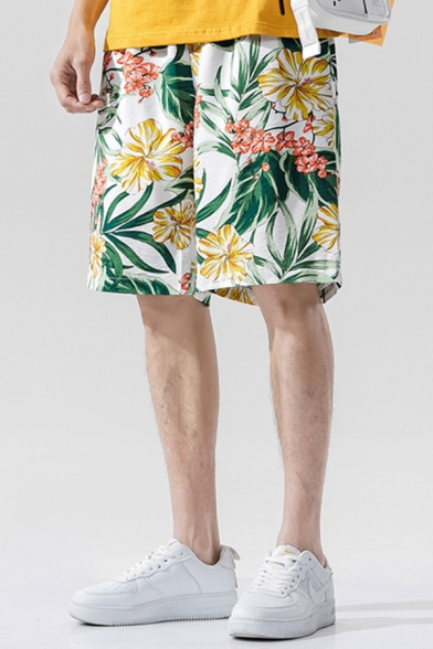 Tropical Style Shorts Floral Leaf Pattern Pocket Drawstring Mid Rise Relaxed Fitted Shorts for Men