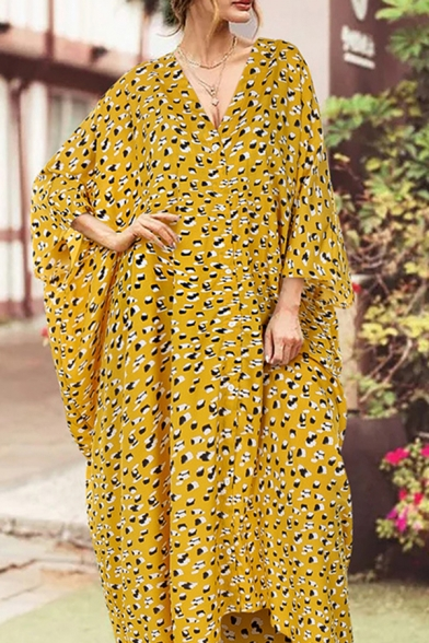 Boho Womens Ditsy Floral Printed Batwing Sleeve V-neck Button up Maxi Oversize Dress in Yellow