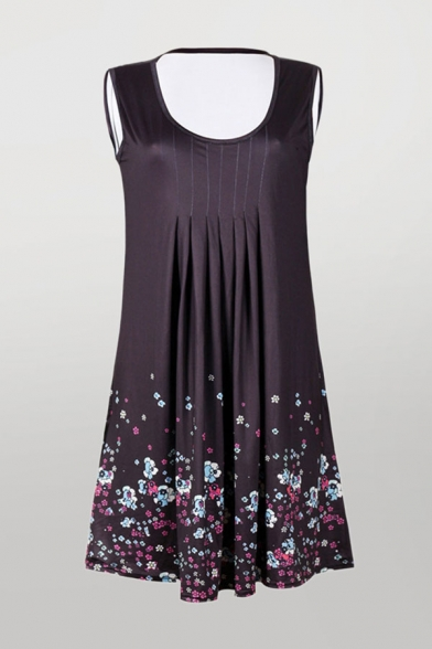 Casual Ditsy Floral Print Pintuck Sleeveless Scoop Neck Mini Swing Tank Dress for Women