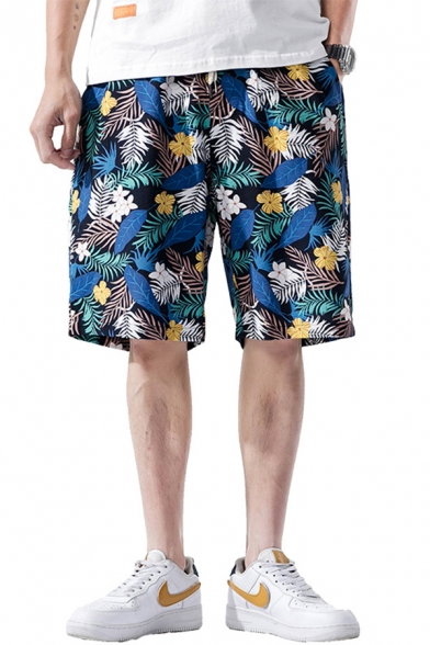 Dressy Mens Shorts Floral Leaf Pattern Pocket Drawstring Mid Rise Relaxed Fitted Shorts